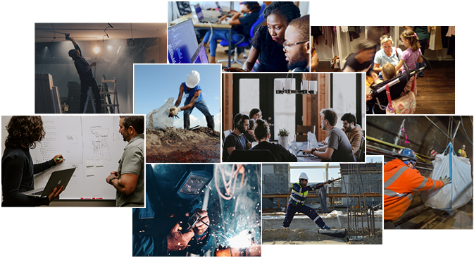 Photo collage of industrial workers